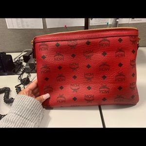 Red MCM Wristlet Pouch only AUTHENTIC